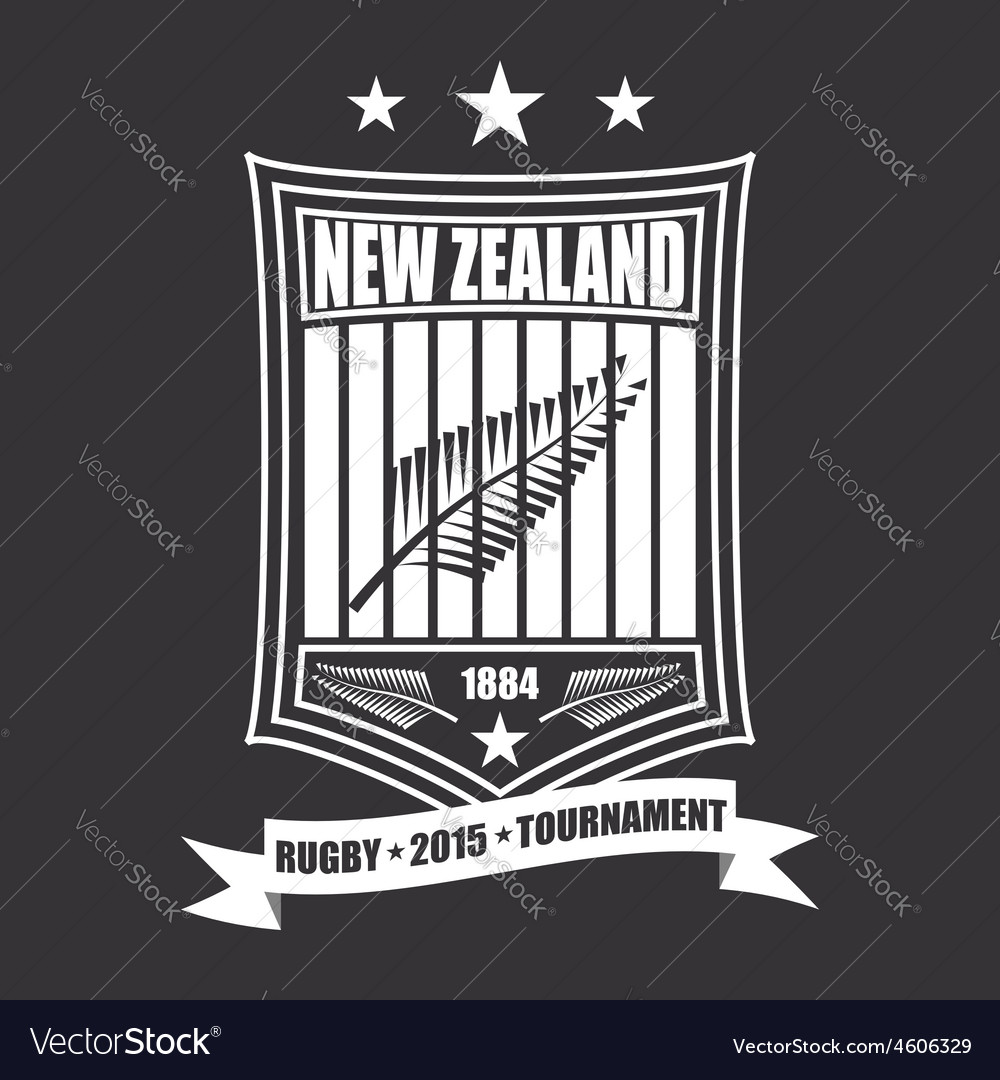 Rugby tournament emblem in the new zealand sport vector | Price: 1 Credit (USD $1)
