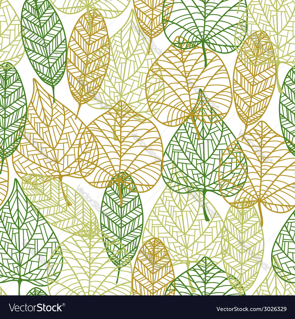 Seamless pattern of outline autumnal leaves vector | Price: 1 Credit (USD $1)