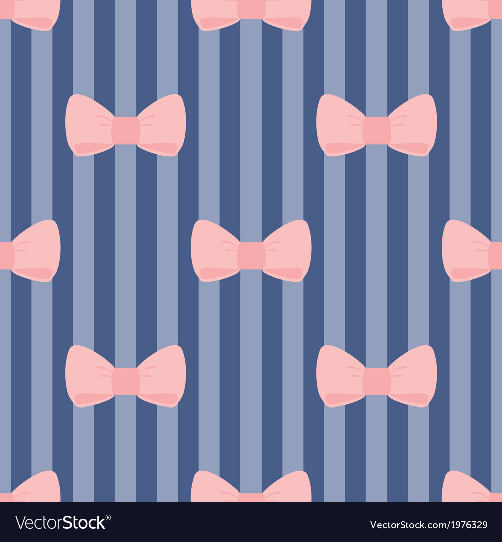 Seamless pattern pastel pink bows on navy blue vector | Price: 1 Credit (USD $1)