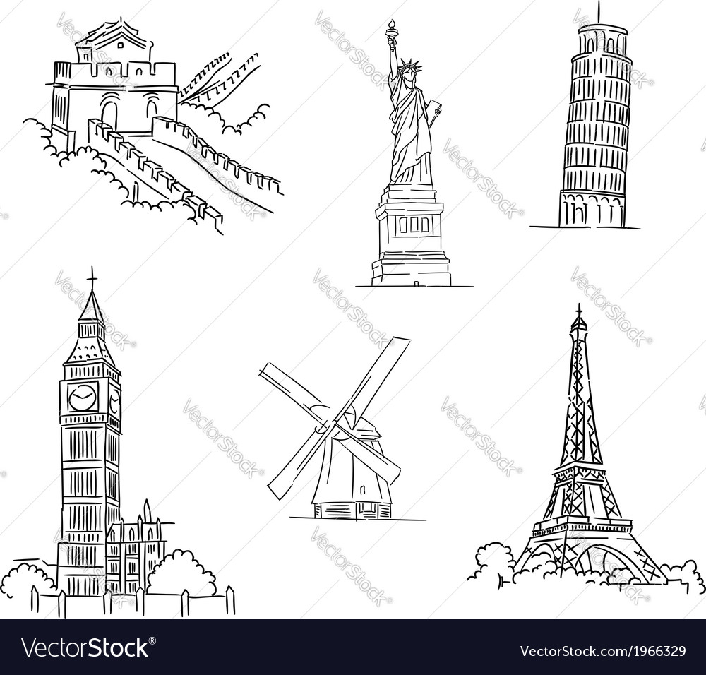 Set of famous world landmarks vector | Price: 1 Credit (USD $1)