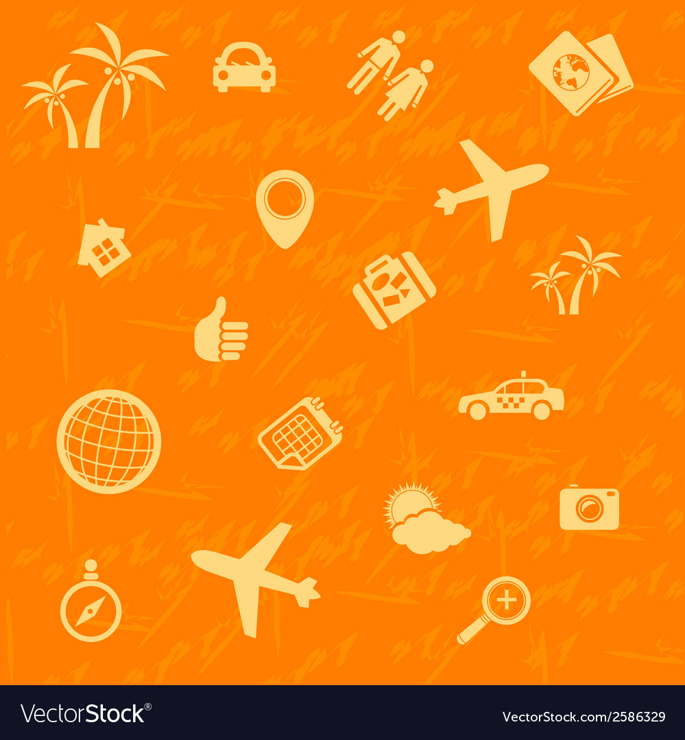 Travel background orange seamless pattern vector | Price: 1 Credit (USD $1)