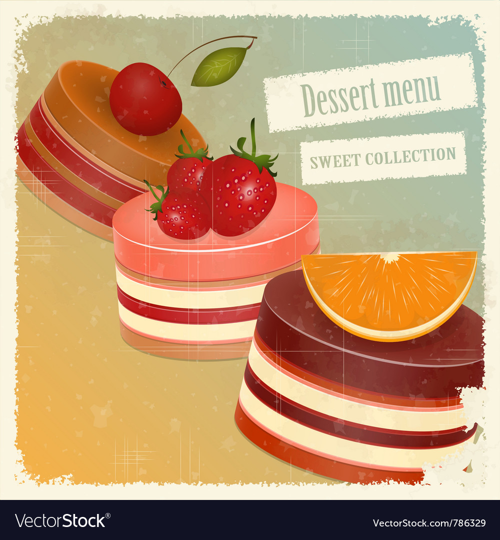 Vintage postcard strawberry chocolate vector | Price: 1 Credit (USD $1)