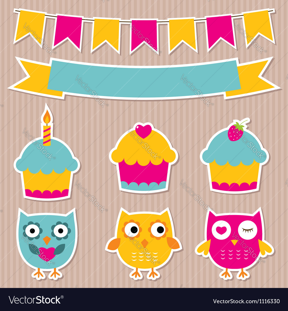 Birthday party stickers set vector | Price: 1 Credit (USD $1)