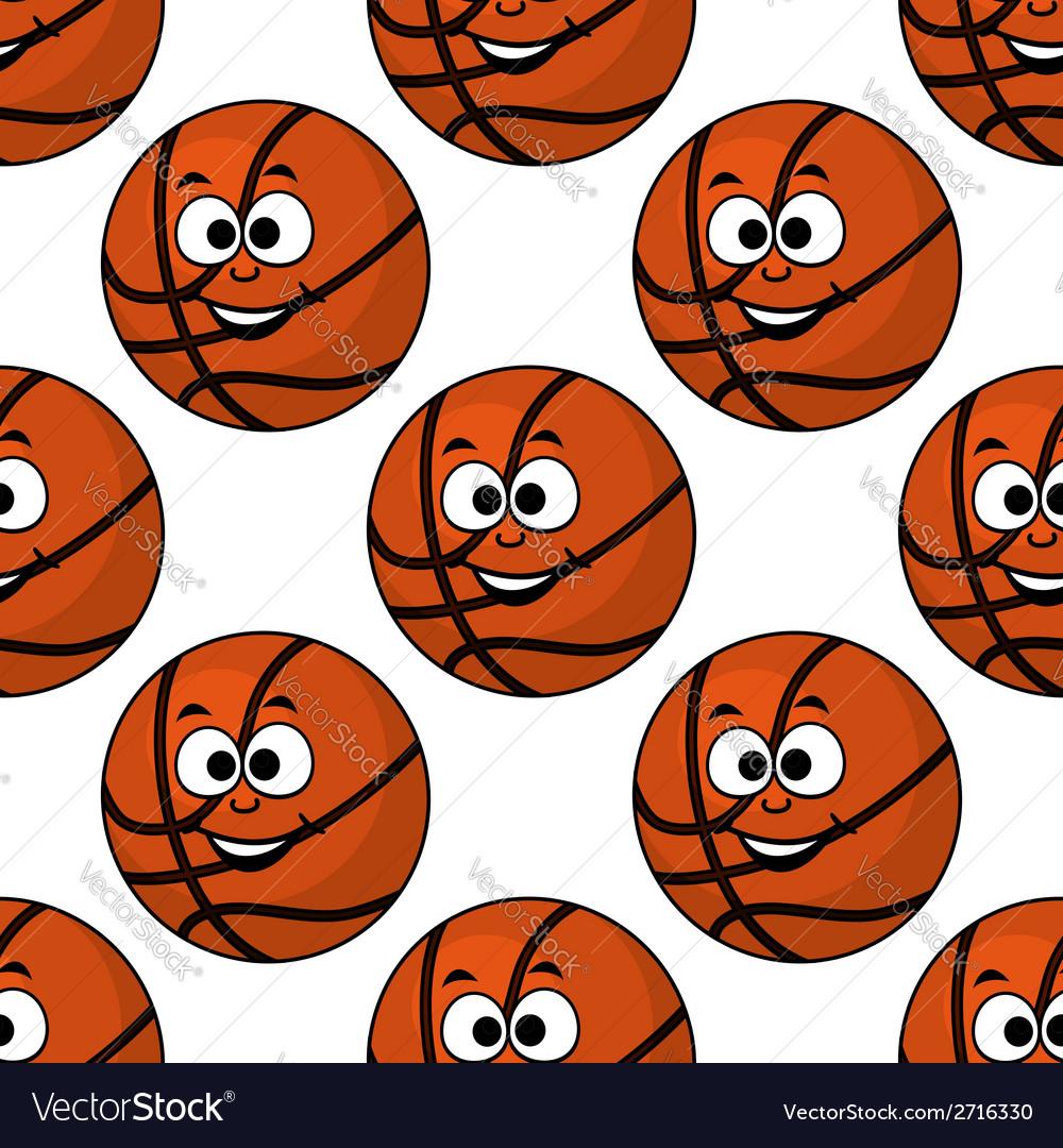 Cartoon smiling basketball seamless pattern vector | Price: 1 Credit (USD $1)