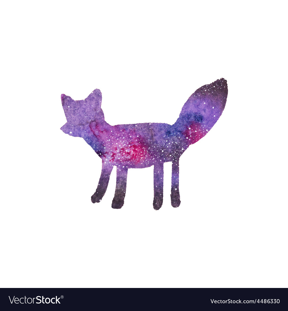 Cosmic fox watercolor galaxy fox on the white vector   Price: 1 Credit (USD $1)