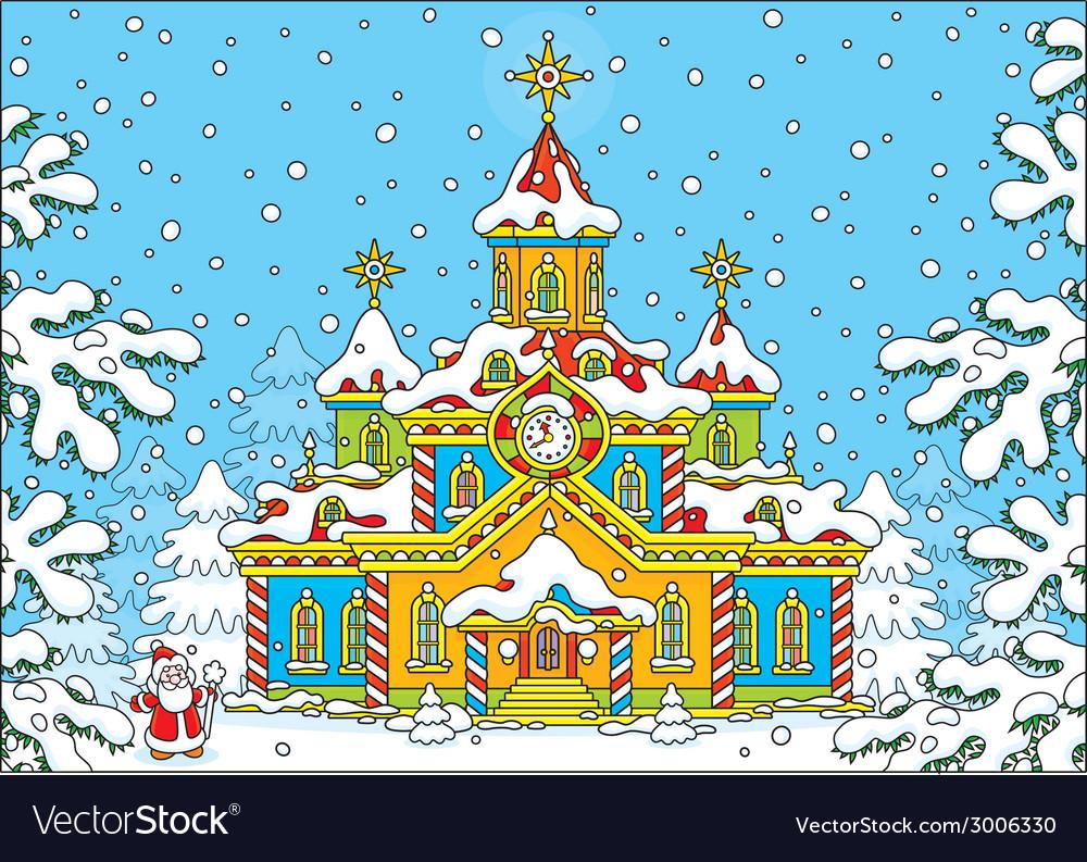 Santa claus house vector   Price: 1 Credit (USD $1)