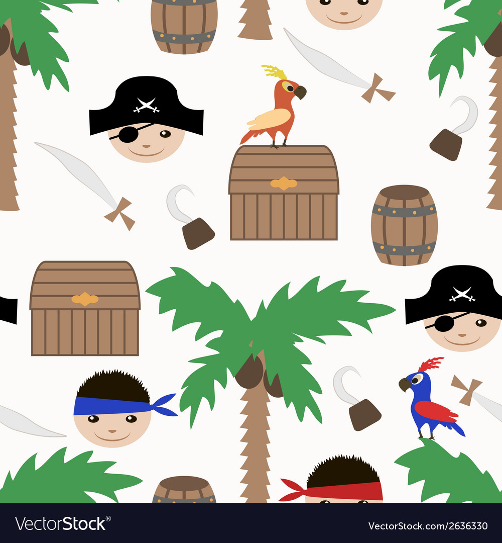 Seamless pirate colorful kids retro pattern vector | Price: 1 Credit (USD $1)