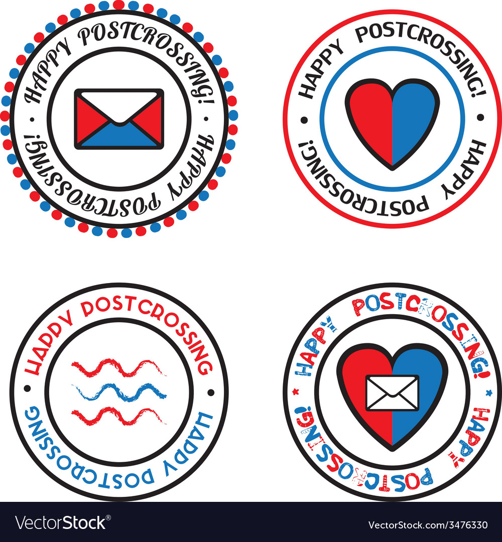 Set of colored seals for postcrossing vector | Price: 1 Credit (USD $1)