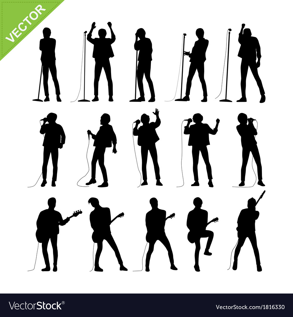 Singer and musicians silhouettes vector | Price: 1 Credit (USD $1)