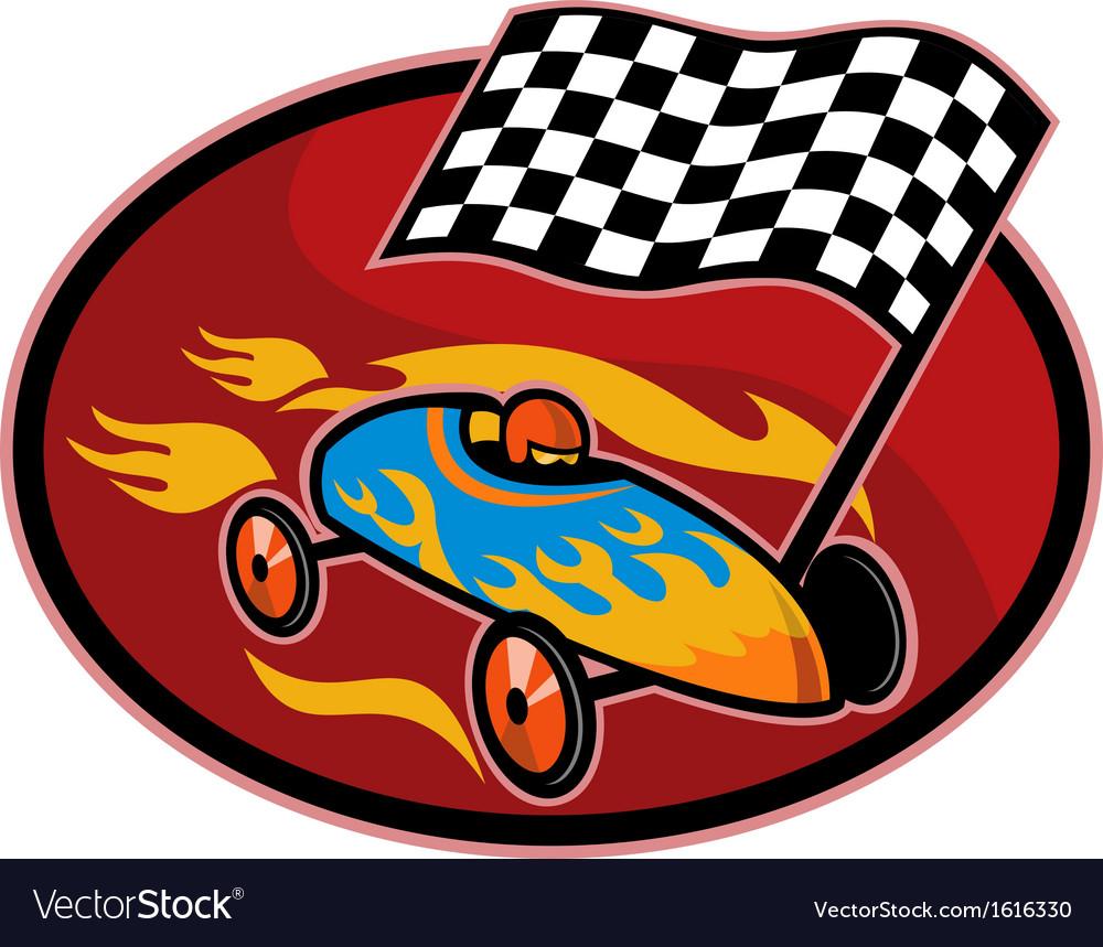 Soap box derby racing with race flag vector | Price: 1 Credit (USD $1)