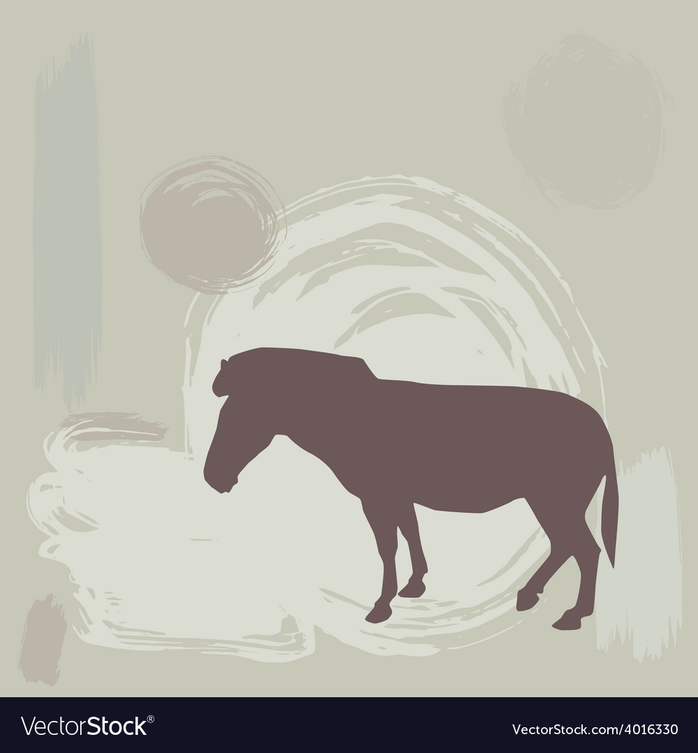 Zebra silhouette on grunge background vector | Price: 1 Credit (USD $1)
