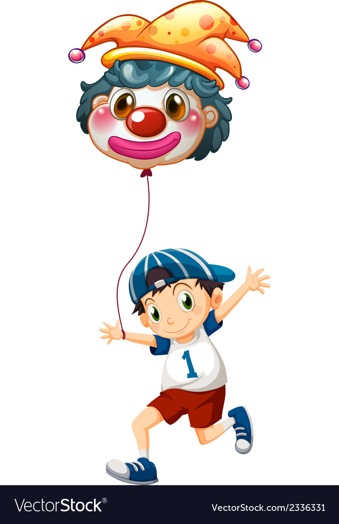 A boy holding a clown balloon vector | Price: 1 Credit (USD $1)