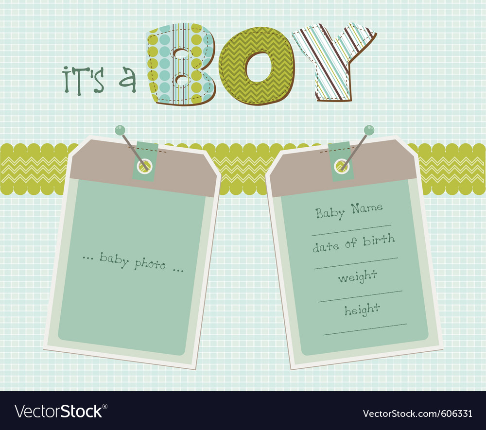 Baby boy arrival card with photo frame in vector | Price: 1 Credit (USD $1)