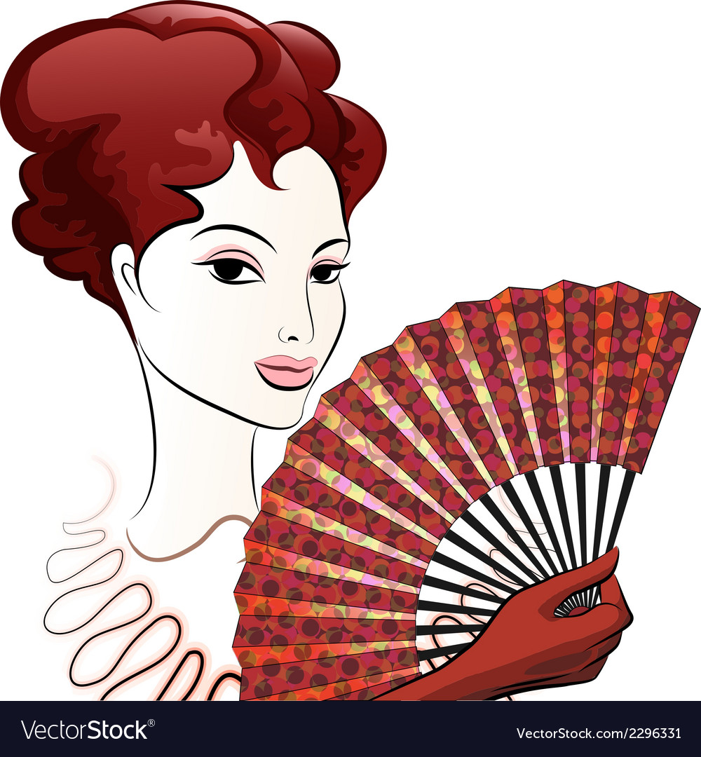 Beautiful woman with a fan vector | Price: 1 Credit (USD $1)