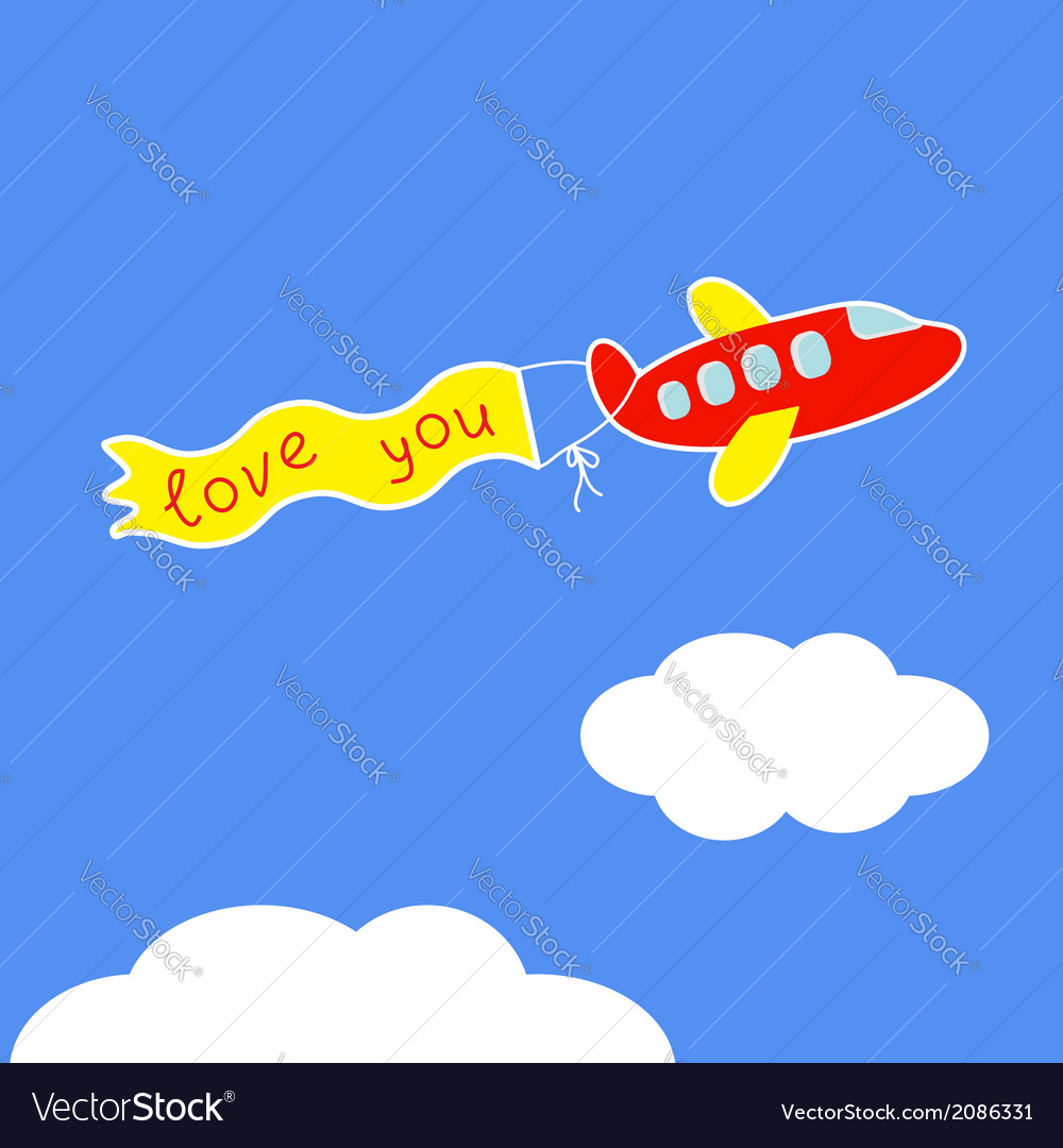Cartoon red plane ribbon with words love you card vector | Price: 1 Credit (USD $1)