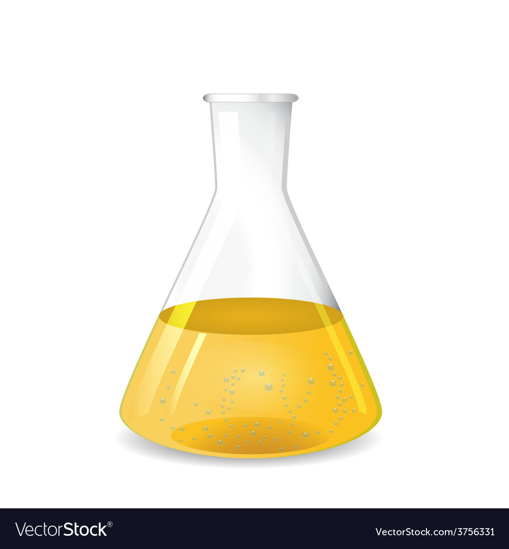 Conical flask with chemical colored solution vector | Price: 1 Credit (USD $1)