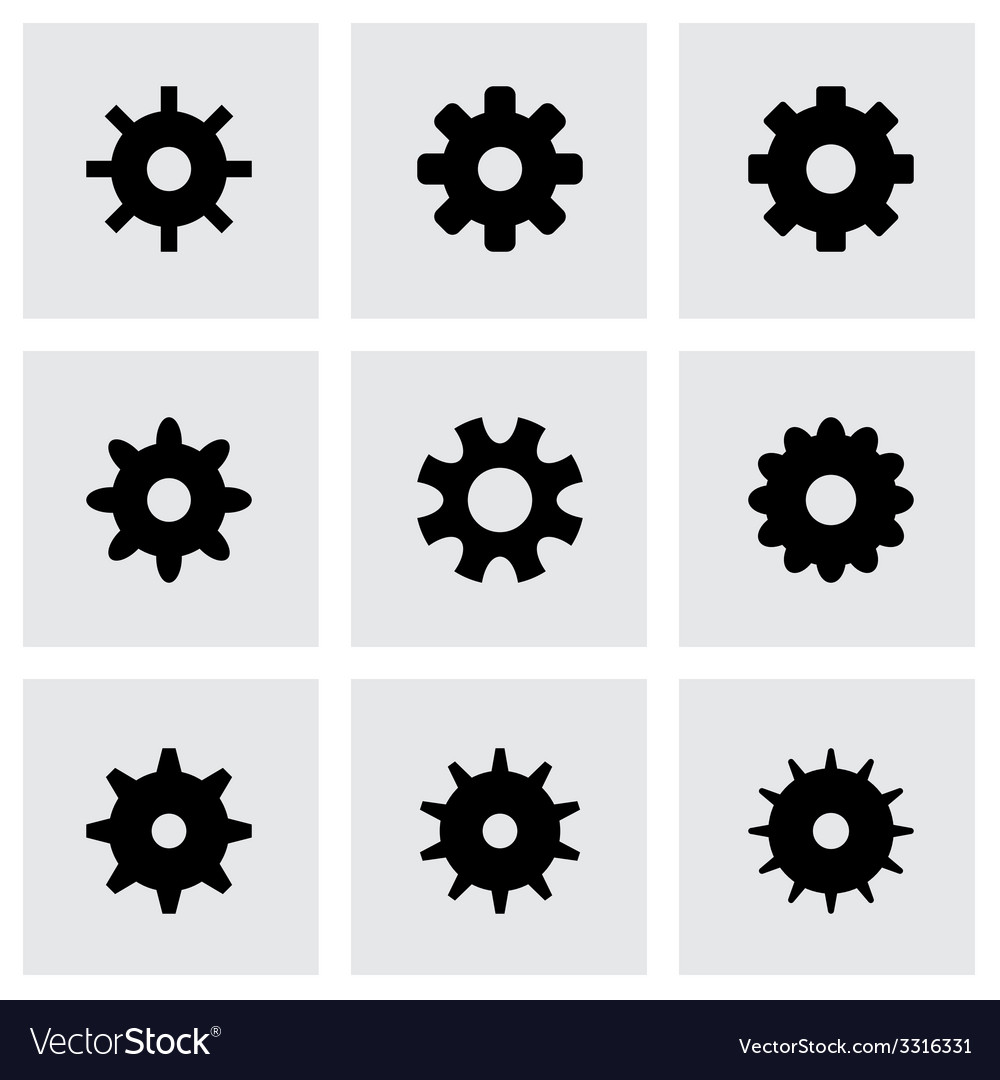 Gear icon set vector | Price: 1 Credit (USD $1)