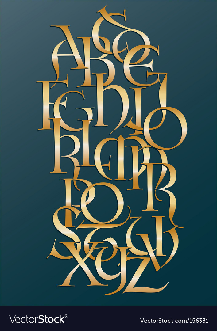 Golden lombard alphabet vector | Price: 1 Credit (USD $1)