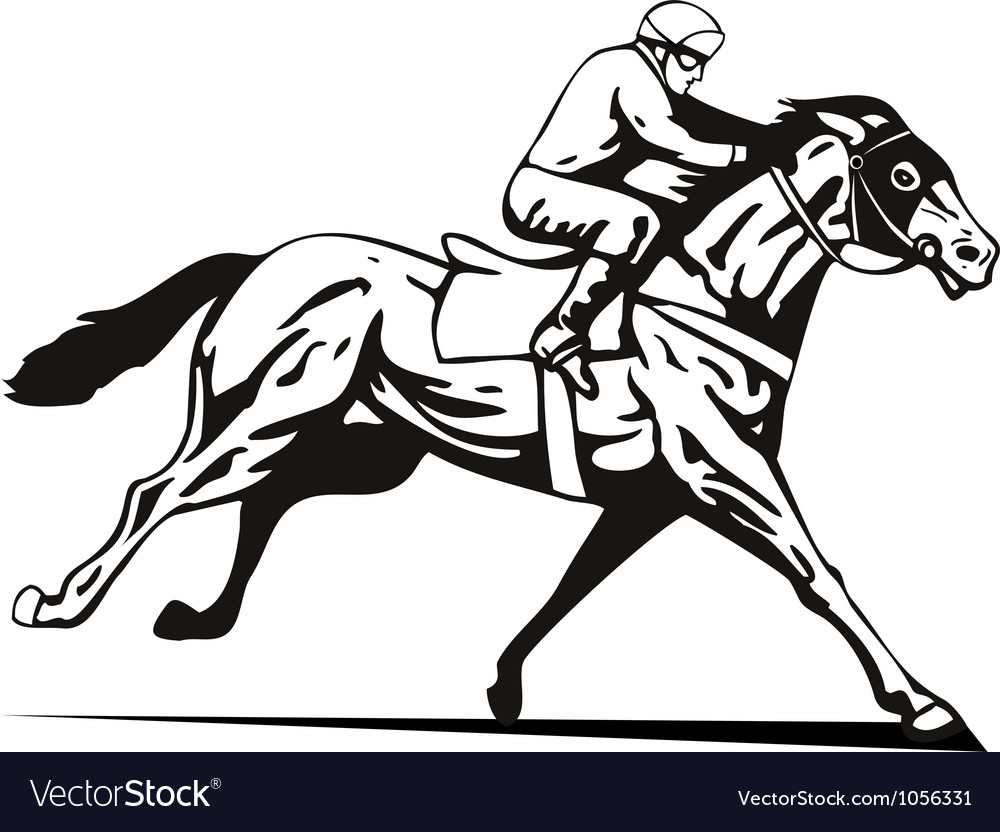 Horse and jockey racing retro vector | Price: 1 Credit (USD $1)
