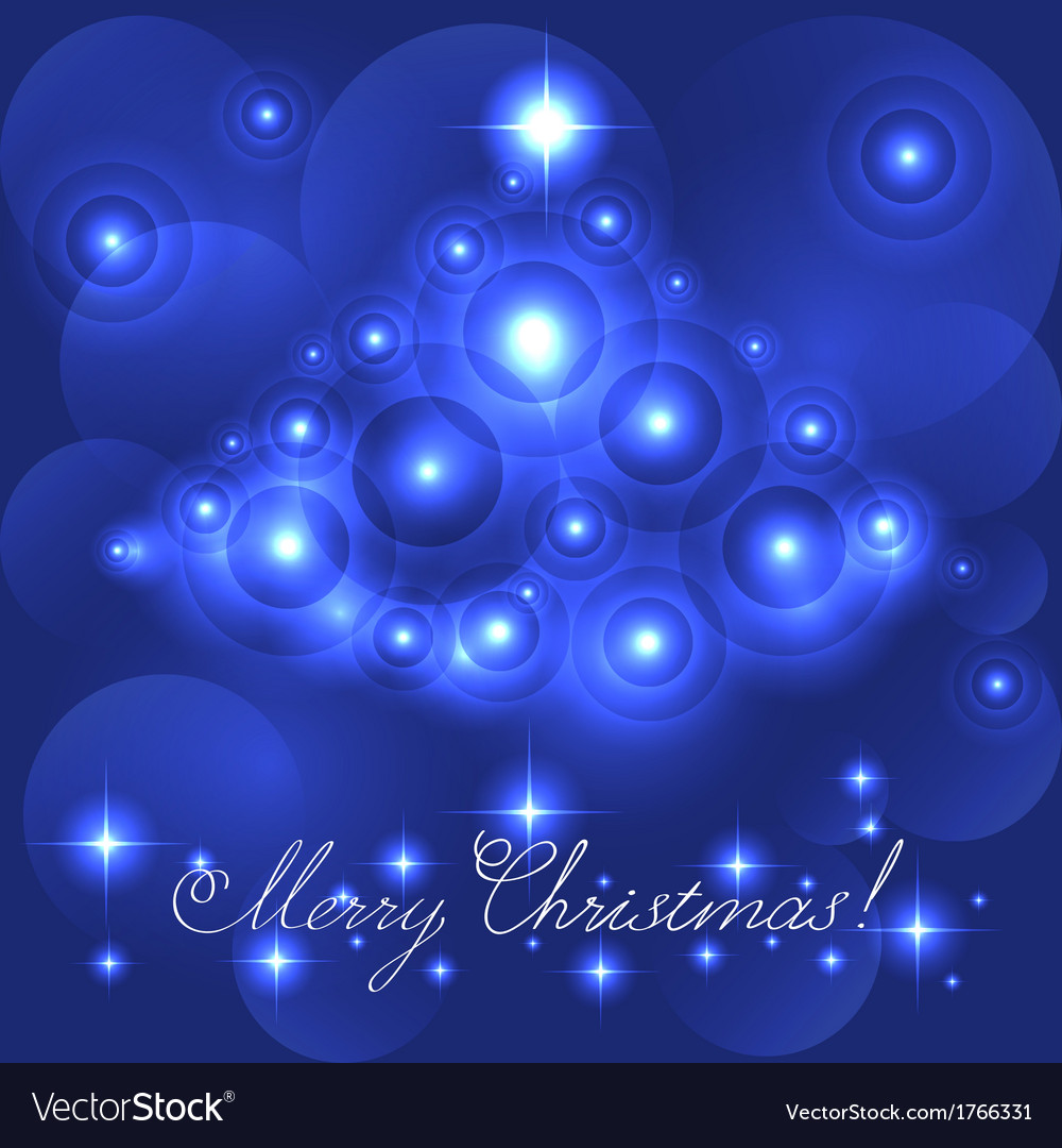 Merry christmas card with blue glowing flares vector | Price: 1 Credit (USD $1)