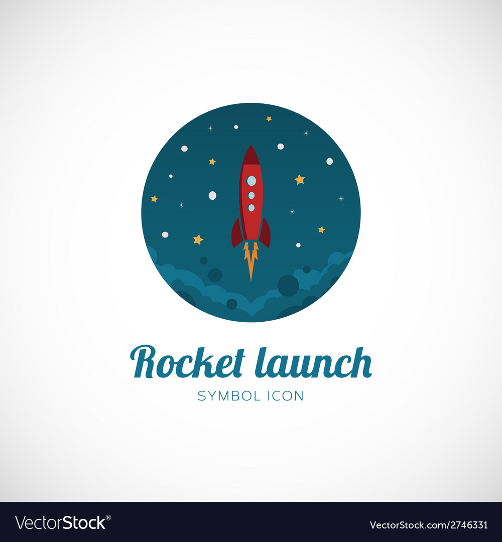 Rocket launch concept symbol icon or logo template vector | Price: 1 Credit (USD $1)
