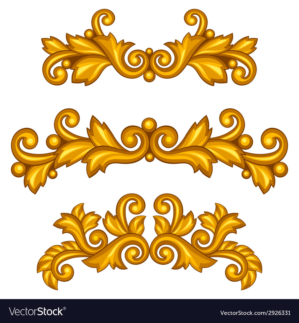 Set of baroque ornamental antique gold scrolls and vector | Price: 1 Credit (USD $1)