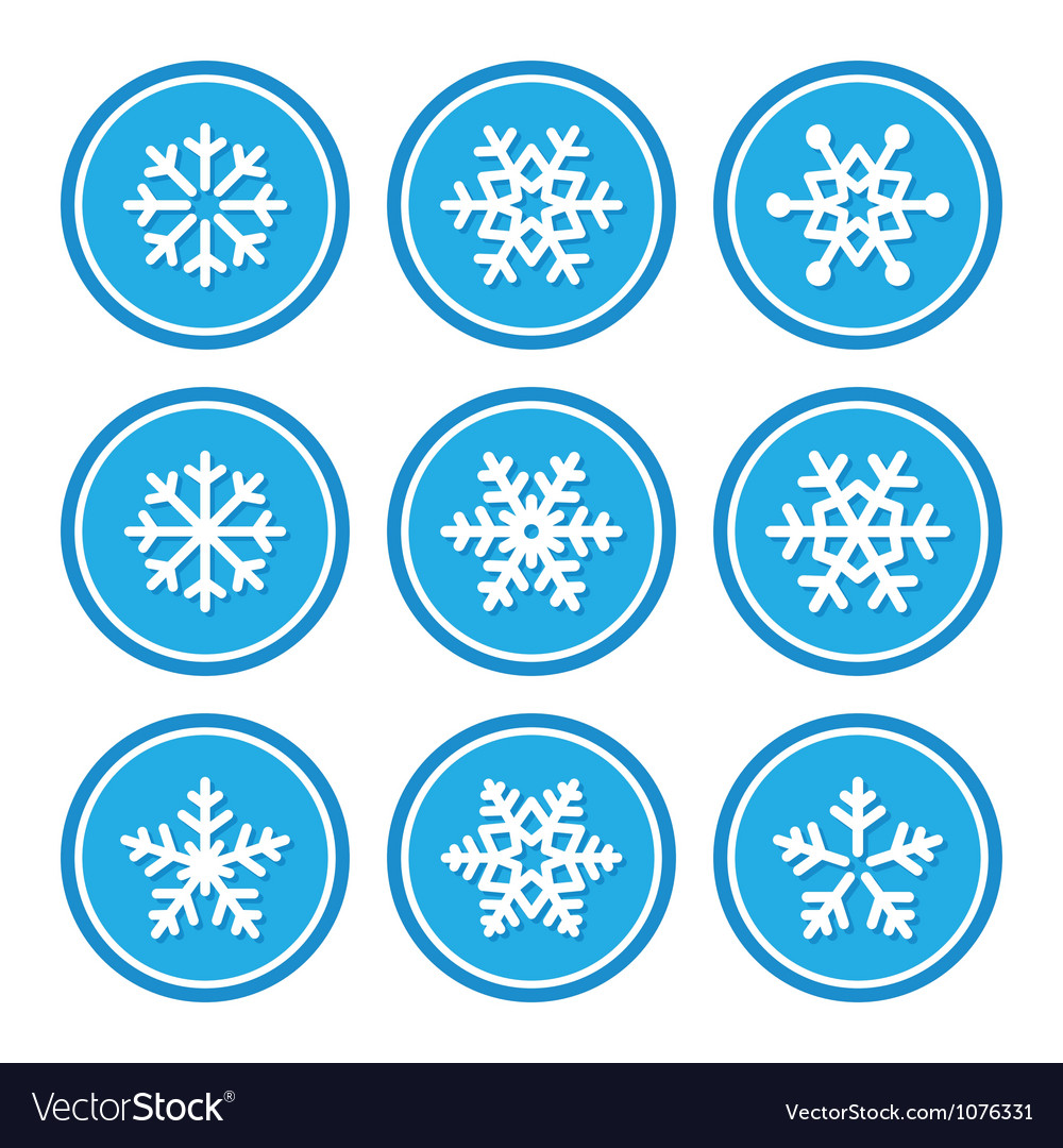 Snowflakes icons as retro labels vector | Price: 1 Credit (USD $1)