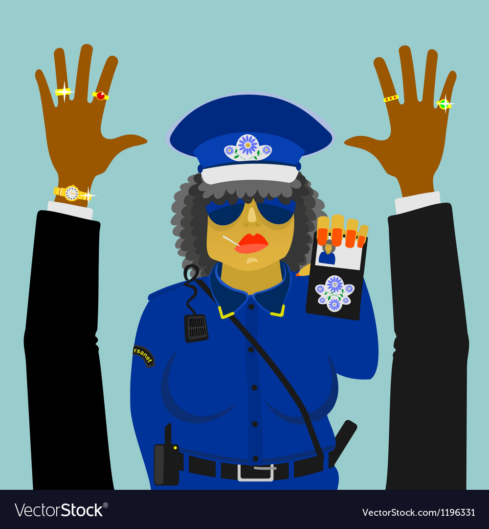 Woman police officer on the job vector | Price: 1 Credit (USD $1)