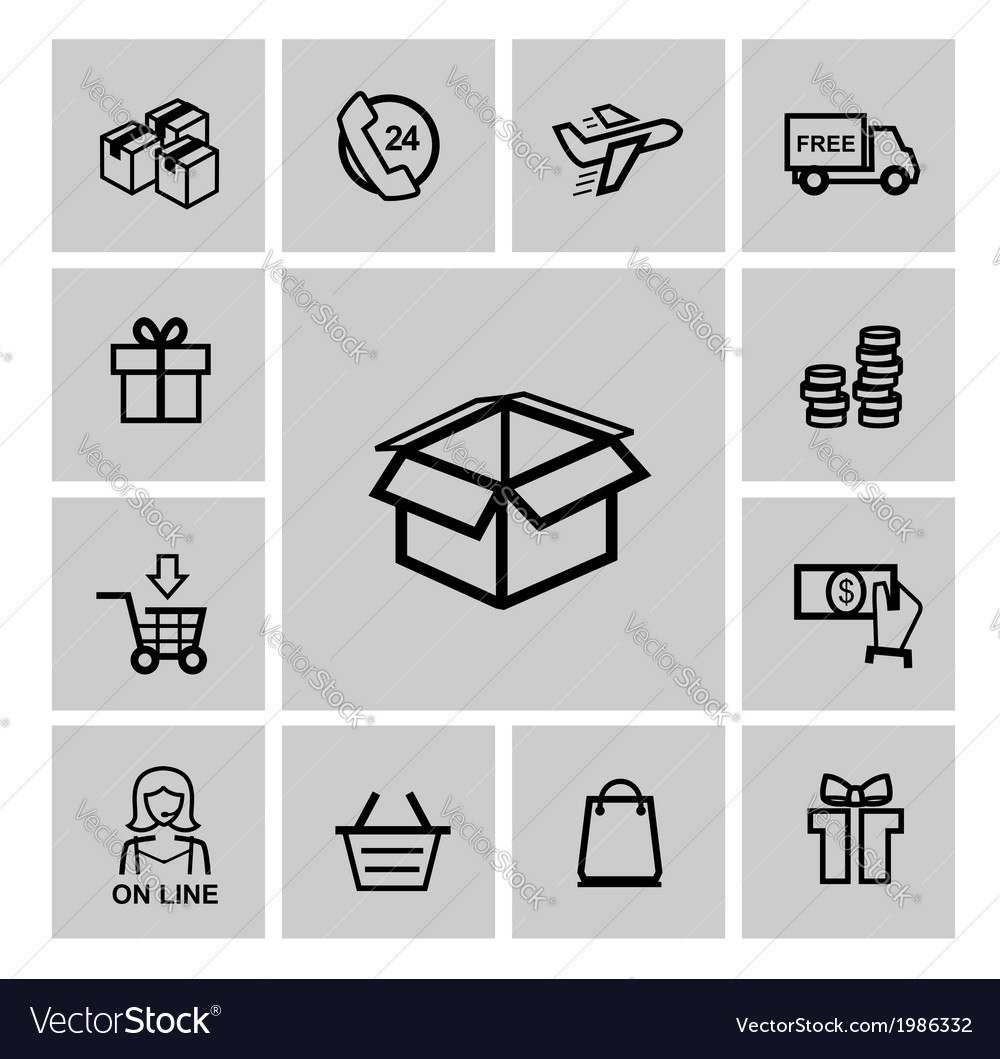 Black shopping icons vector | Price: 1 Credit (USD $1)