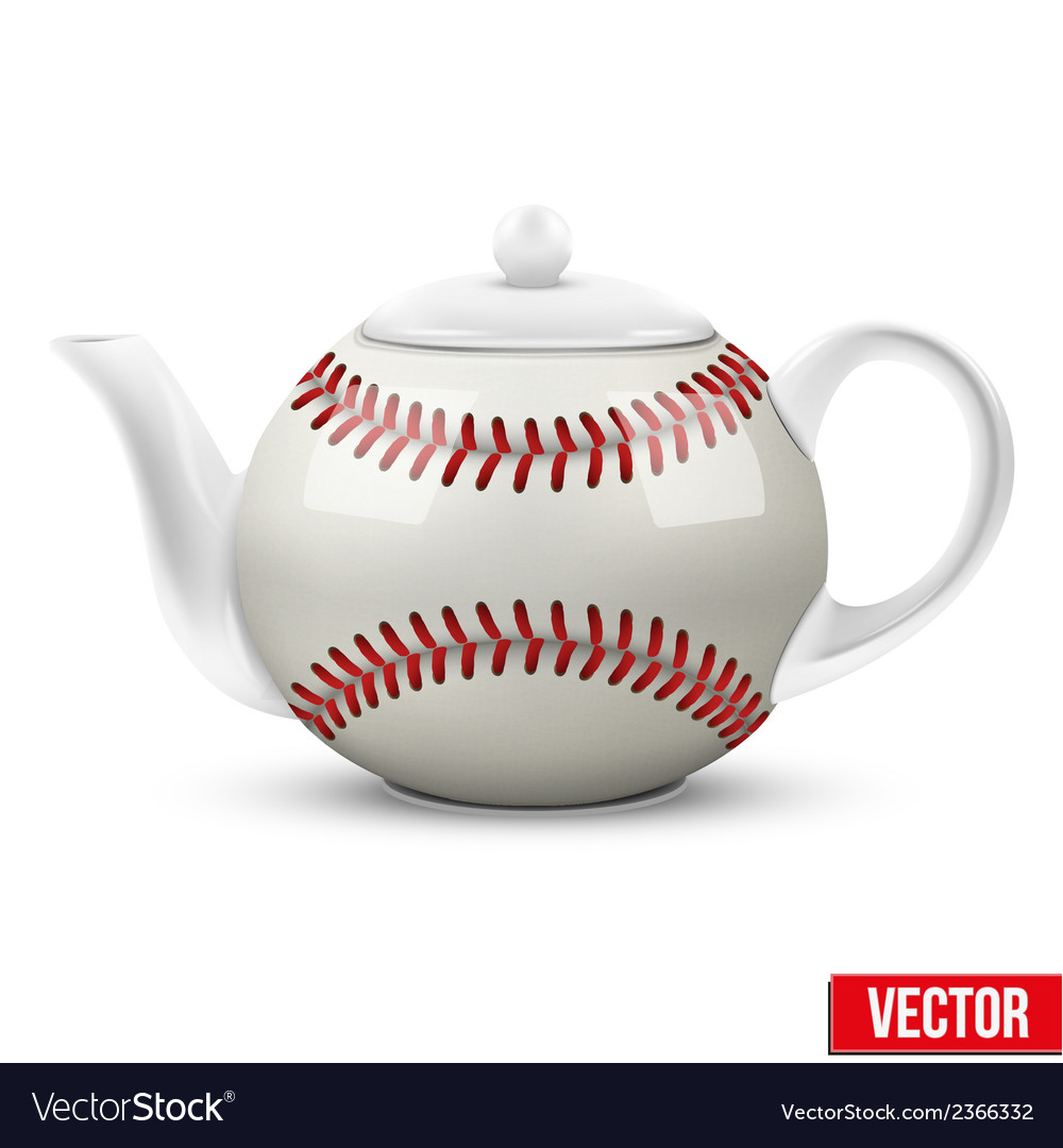 Ceramic teapot in baseball ball style football vector | Price: 1 Credit (USD $1)