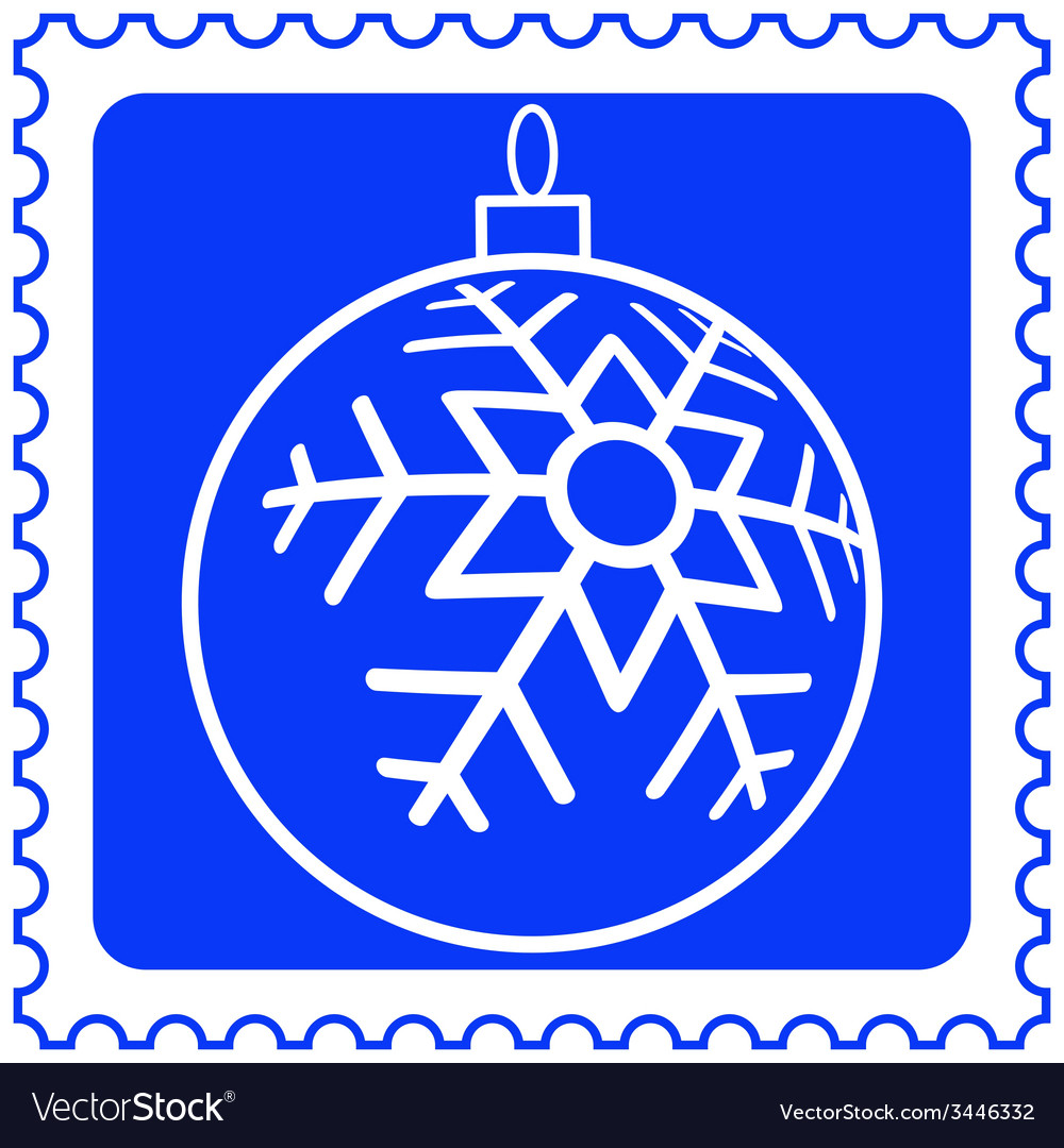 Christmas ball on stamp vector | Price: 1 Credit (USD $1)