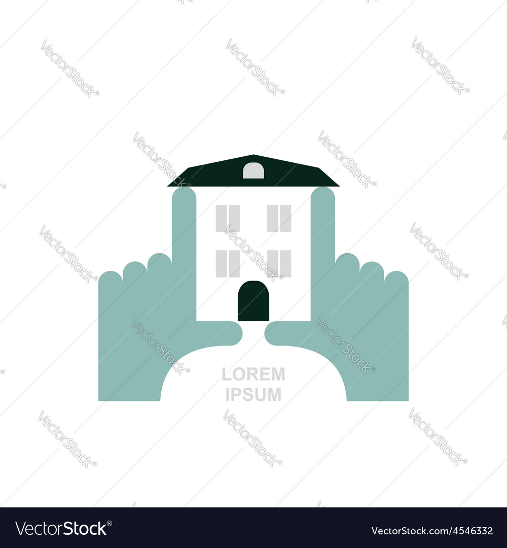 House in hands logo and icon for property template vector | Price: 1 Credit (USD $1)