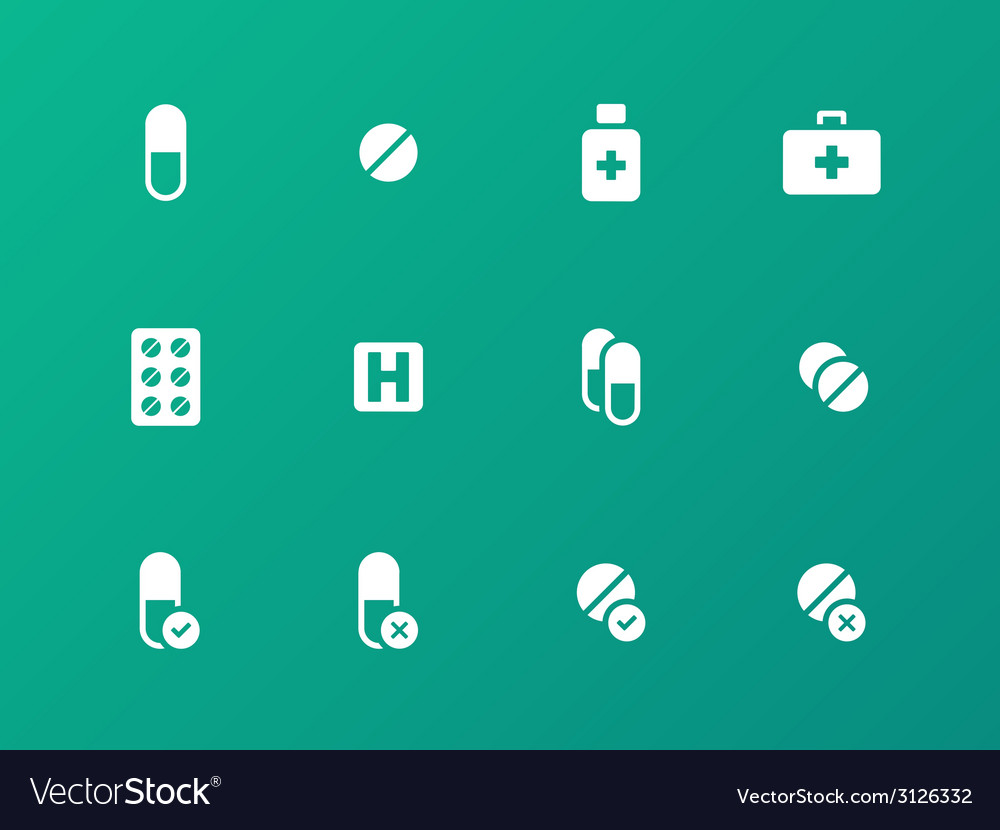 Pills medication icons on green background vector | Price: 1 Credit (USD $1)