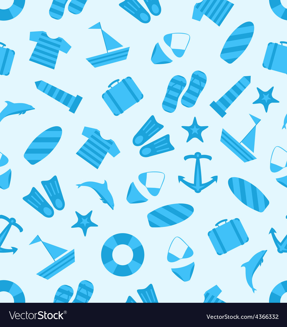 Seamless texture of marine item summer flat icons vector | Price: 1 Credit (USD $1)