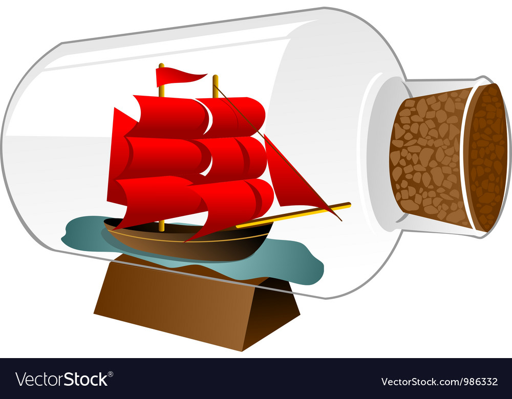Ship boat in a bottle vector | Price: 1 Credit (USD $1)