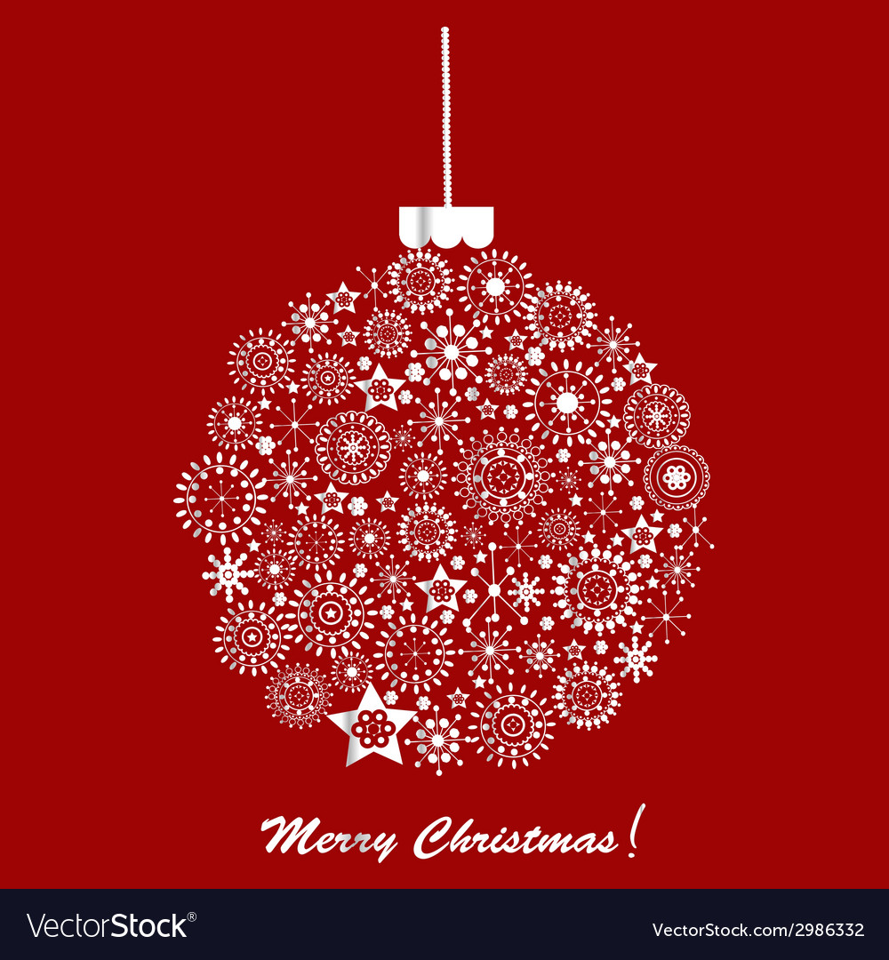 Silver christmas ball over red background holiday vector | Price: 1 Credit (USD $1)
