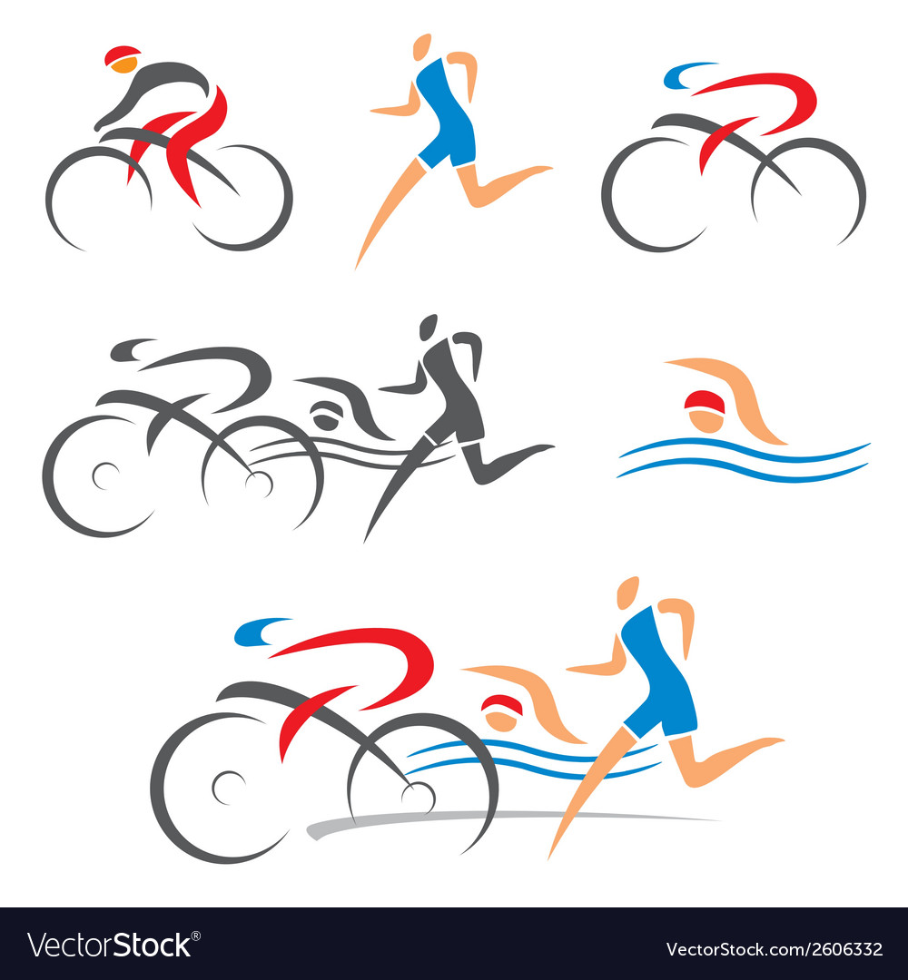 Triathlon cycling fitness icons vector | Price: 1 Credit (USD $1)
