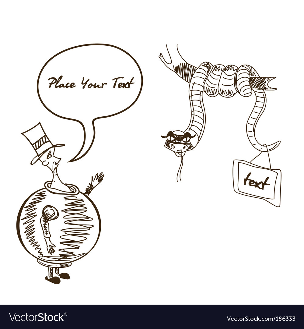 Caricature man cartoon silhouette snake vector | Price: 1 Credit (USD $1)
