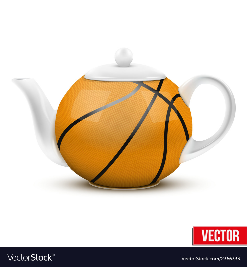 Ceramic teapot in basketball ball style football vector | Price: 1 Credit (USD $1)