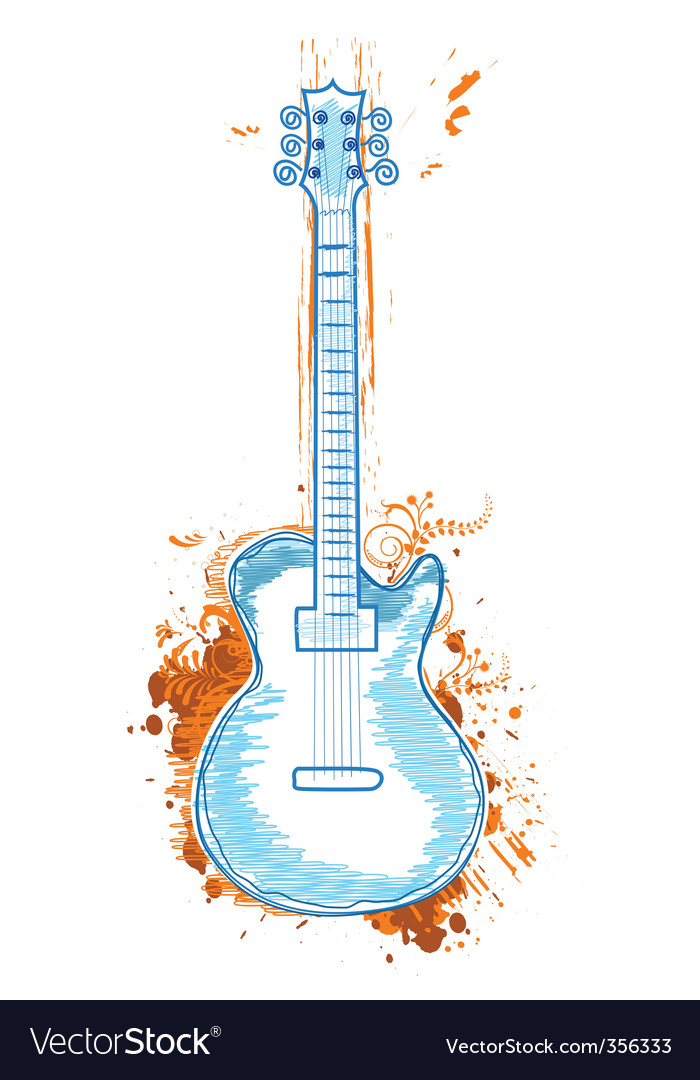 Floral guitar vector | Price: 1 Credit (USD $1)