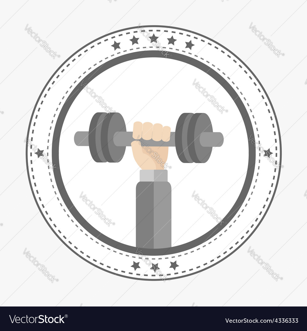 Hand holding dumbell round icon with stars sport vector | Price: 1 Credit (USD $1)