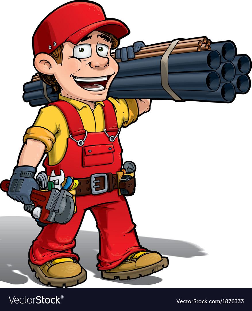 Handyman plumber red vector | Price: 3 Credit (USD $3)