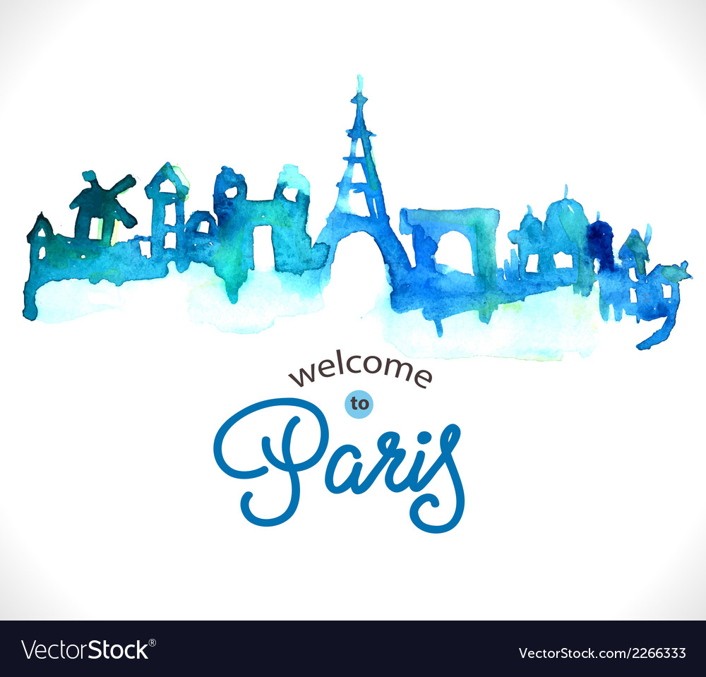 Paris skyline watercolor background vector | Price: 1 Credit (USD $1)