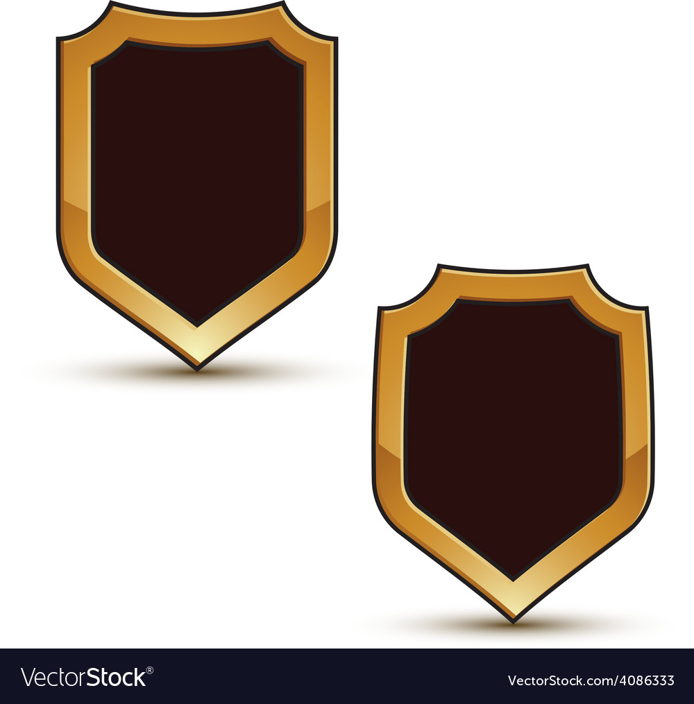 Renown black shield shape emblems with golden vector | Price: 1 Credit (USD $1)