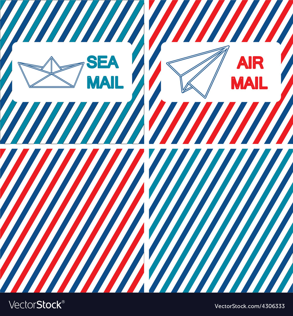 Set of air and sea mail on vector | Price: 1 Credit (USD $1)