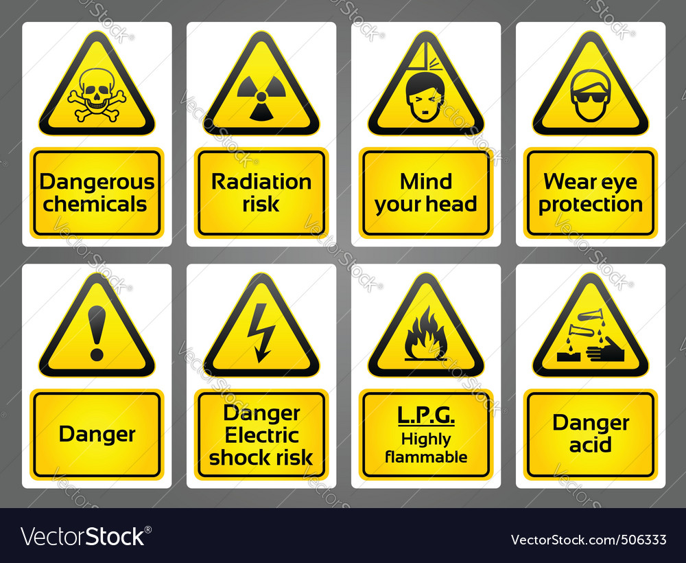 Warning signs labes vector | Price: 1 Credit (USD $1)