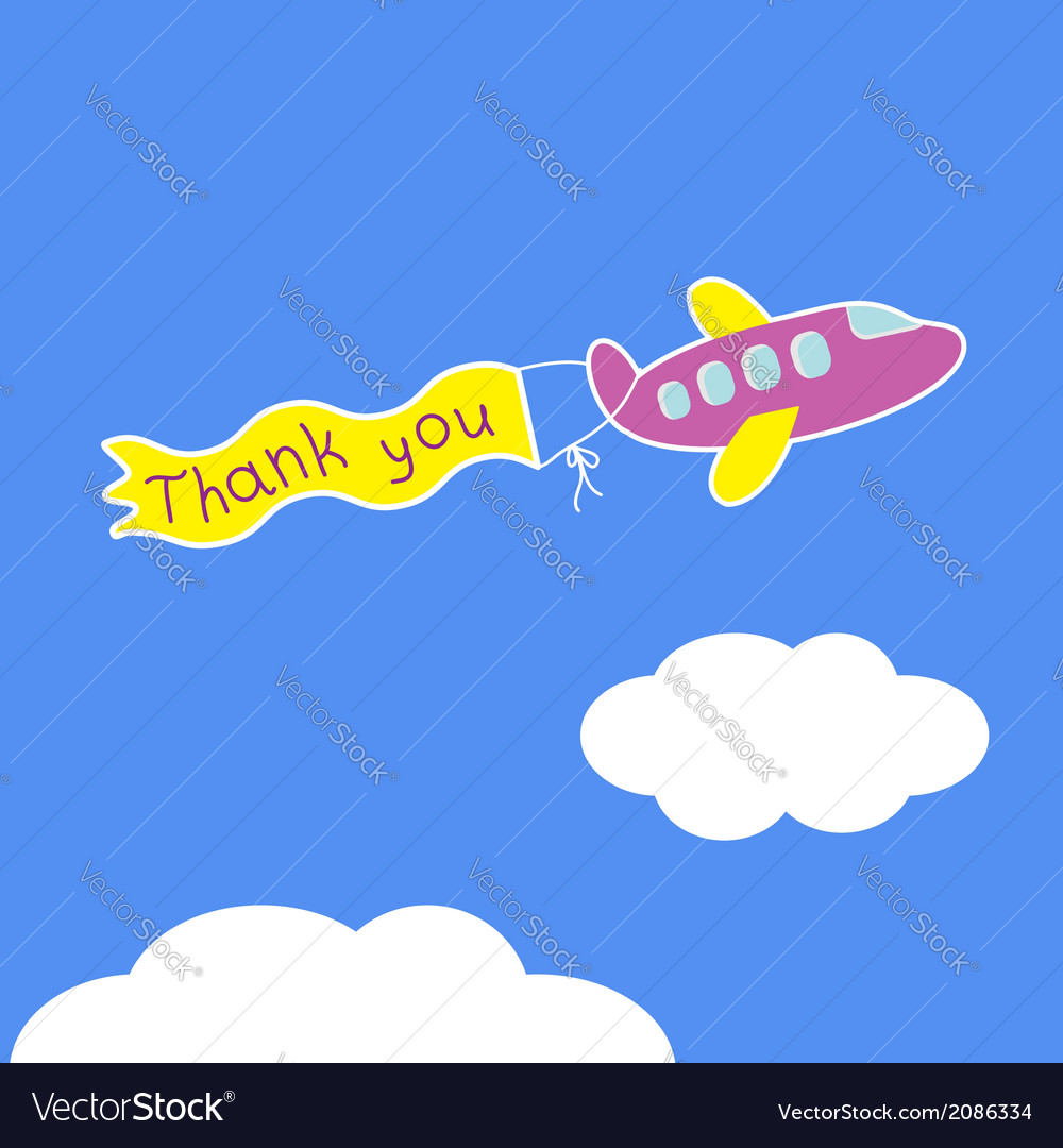 Cartoon violet plane ribbon with words thank you vector | Price: 1 Credit (USD $1)