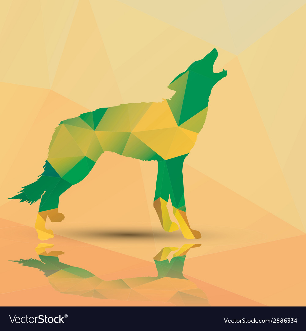 Geometric polygonal wolf pattern design vector | Price: 1 Credit (USD $1)