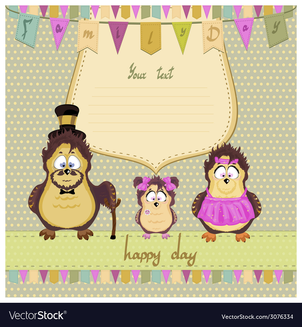 Happy family of owls vector | Price: 1 Credit (USD $1)
