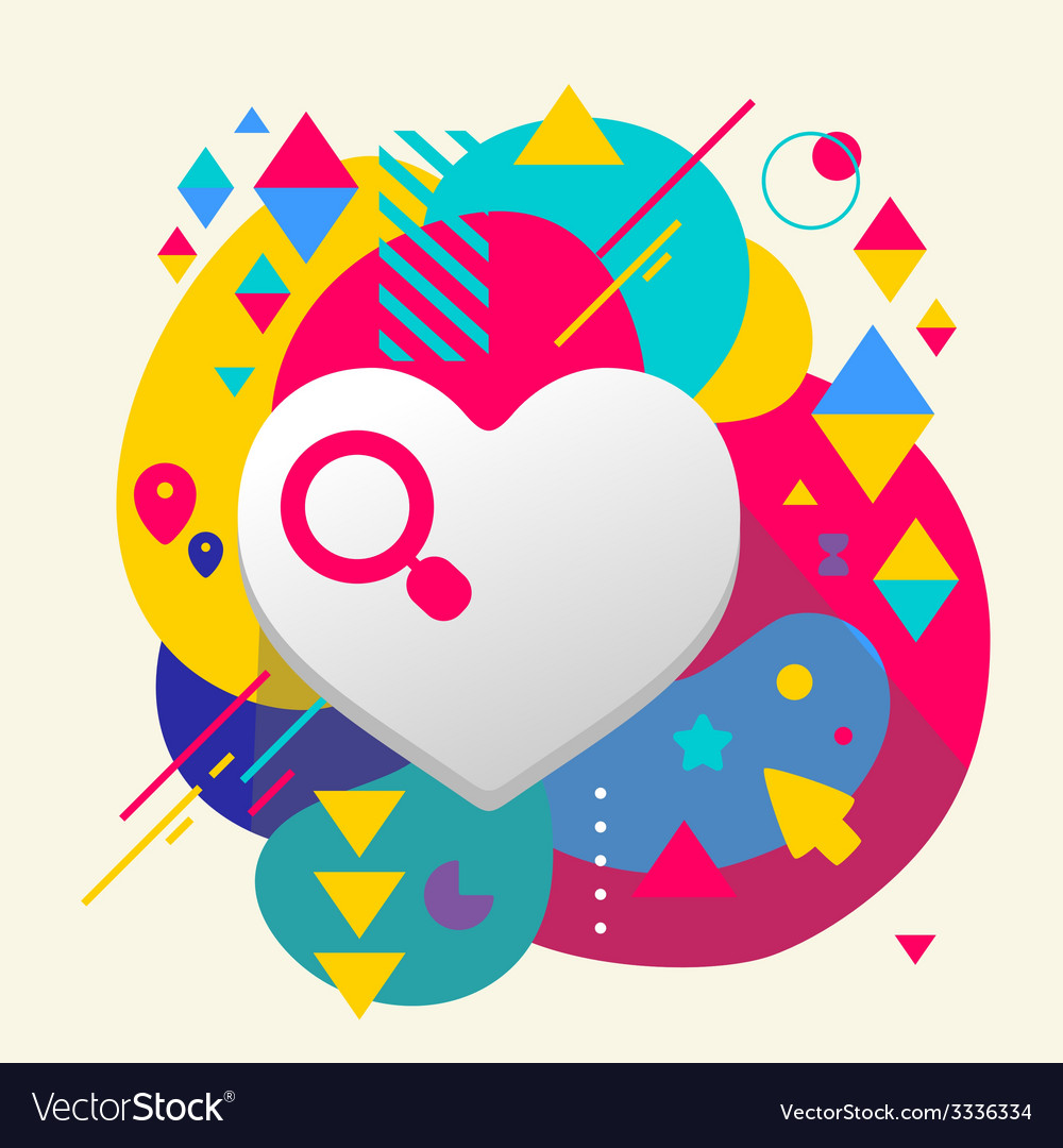 Heart on abstract colorful spotted background with vector | Price: 3 Credit (USD $3)